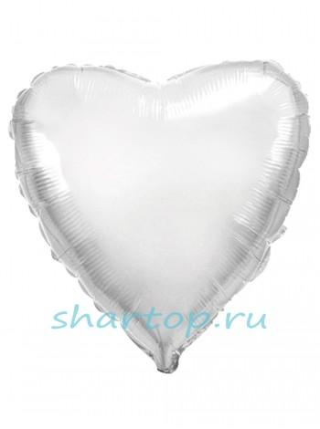 """Фольгированный шар """"Сердце Белый"""""""