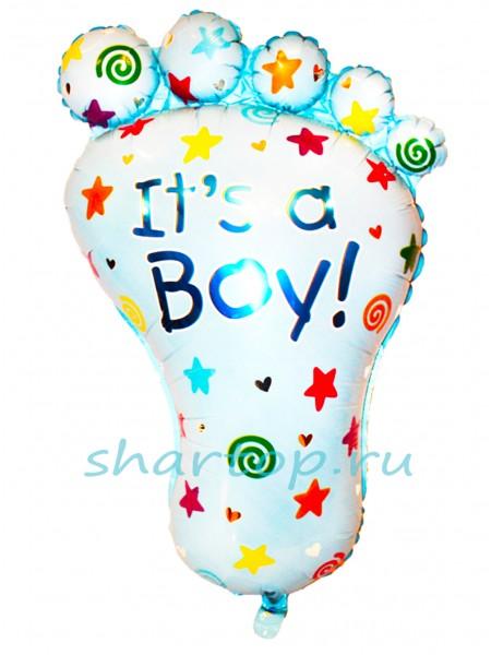 """Фольгированный шар с гелием """"Ступня мальчик"""" 97 см"""