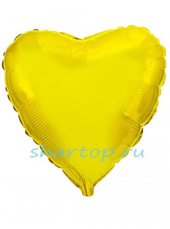 """Фольгированное Сердце """"Золотое""""  48 см."""