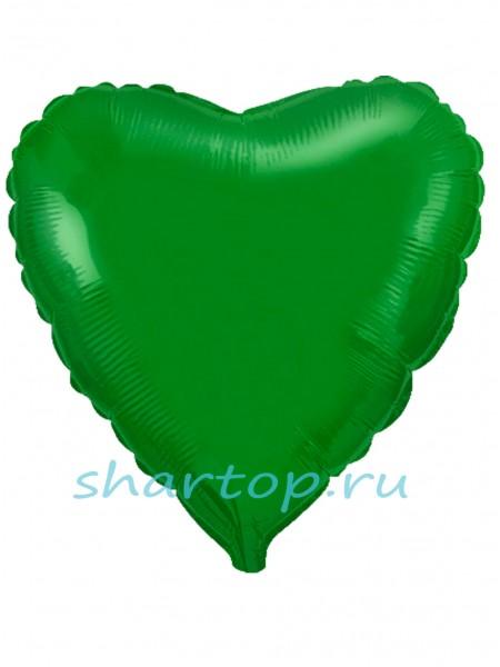 """Фольгированное """"Сердце, Зеленый"""""""