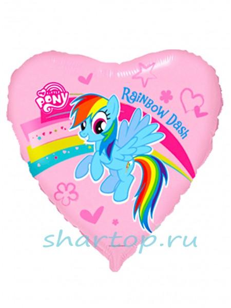 """Фольгированное сердце  """"Пони"""" 46 см."""
