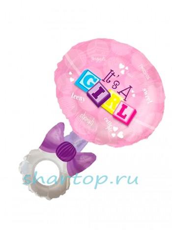 """Фольгированный шар  """"Погремушка Розовая"""" 102 см"""