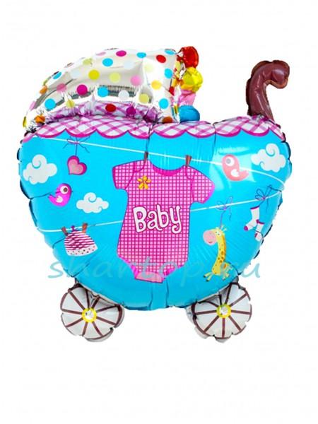 """Фольгированный шар """"Коляска для девочки с боди"""" 61 см"""