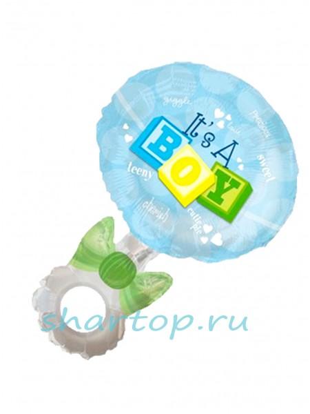 """Фольгированный шар  """"Погремушка Синяя"""" 102 см"""