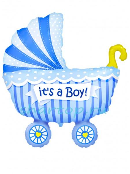 """Фольгированный шар """"Коляска для мальчика"""" 95 см"""