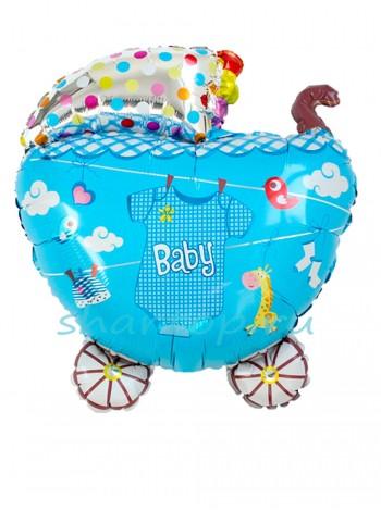 """Фольгированный шар """"Коляска для мальчика с боди"""" 61 см"""