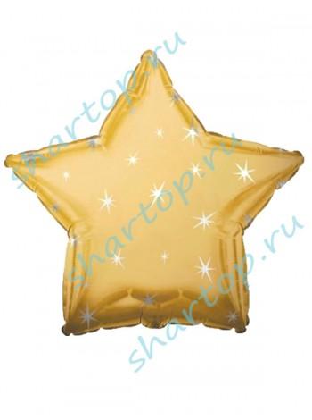 """Фольгированный шар звезда """"Золото со Звездами"""" 46 см"""