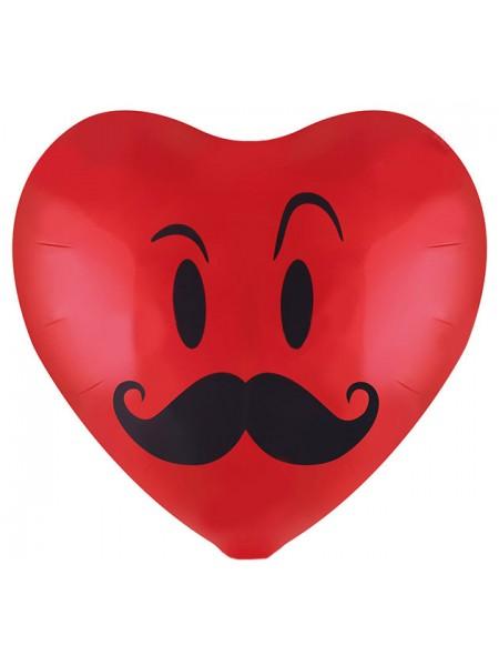 """Фольгированное сердце """"Смайл с усами"""" 48 см"""