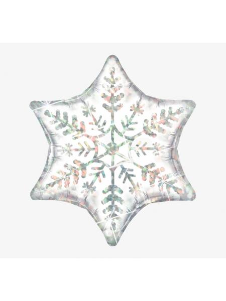 Шар Снежинка Белая Голография 56 см