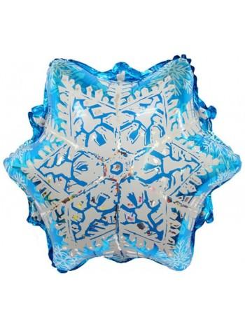 Шар Снежинка, Голубая 51 см