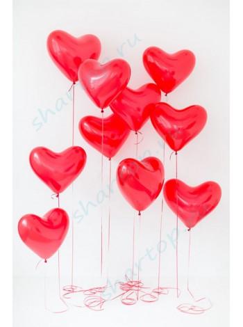 Шары Сердца красные 38 см
