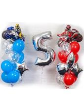 Композиция из шаров Мотоциклисты с цифрой.